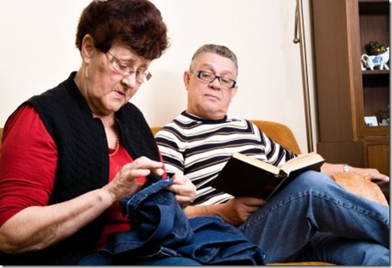 Old Couple Sitting Wife
