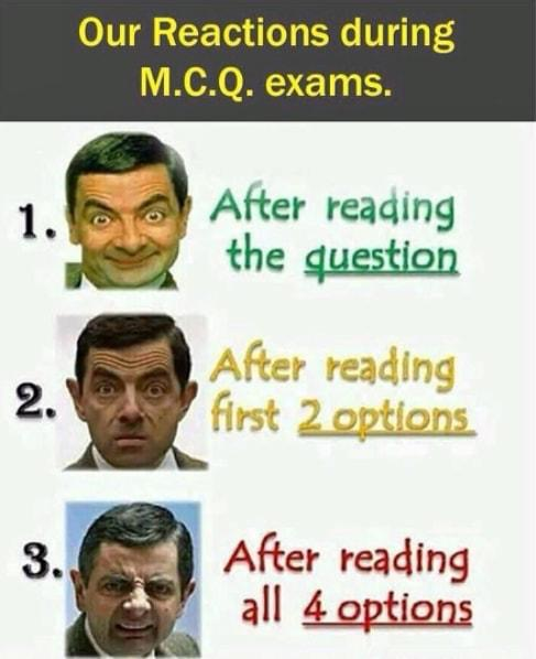 Reactions during exams.