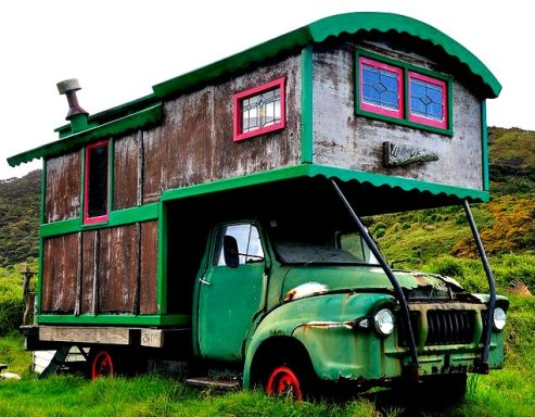 Housetruck in New Zealand - photographer Unknowen