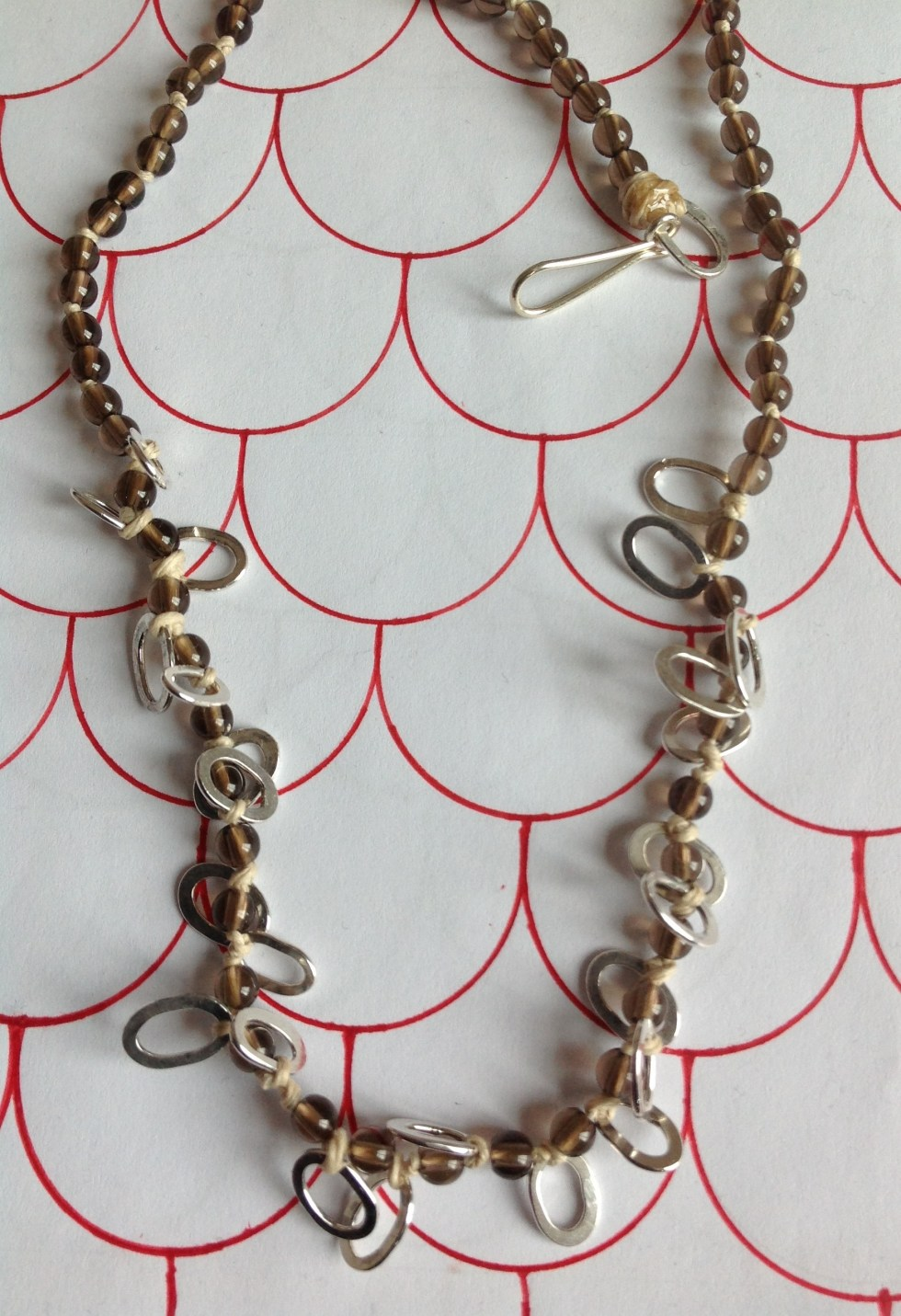 Special Order Smoky quartz and silver loop knotted necklace