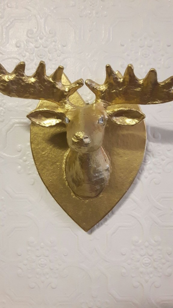 This is the stag head which I bought from hobbycraft and spray painted it gold