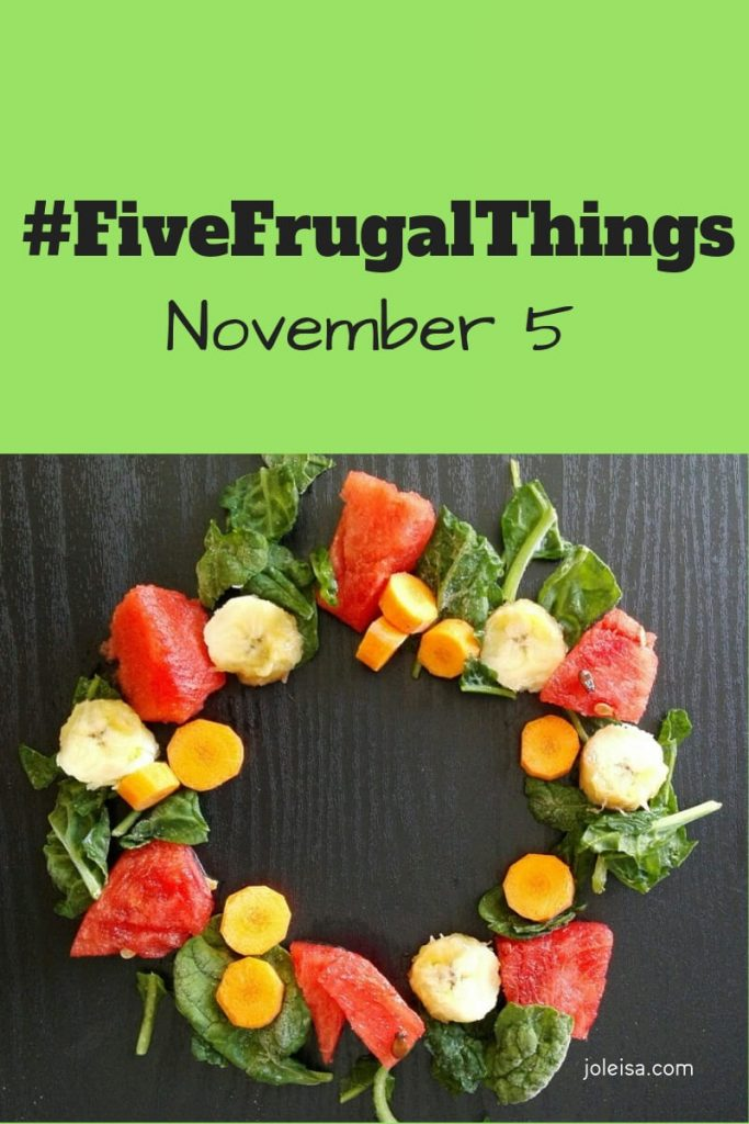 Here are #fivefrugalthings we've done this week. It is saving us money each week and does so in ways that we don't feel we are missing out on anything.