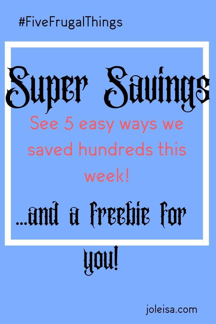 Five ways we have made super savings this week