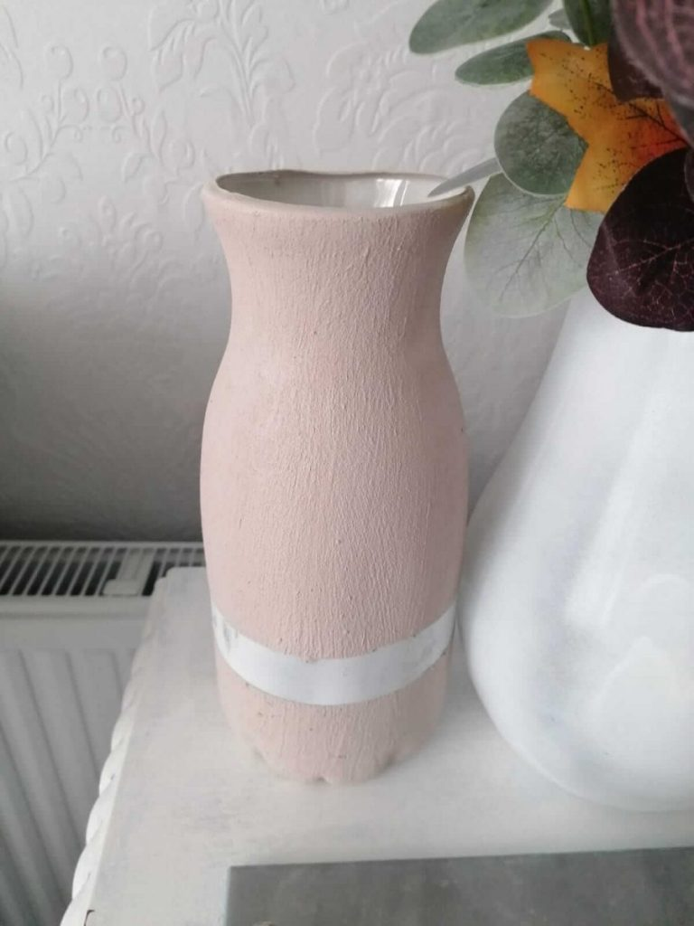 Plastic bottle turned into a ceramic looking vase