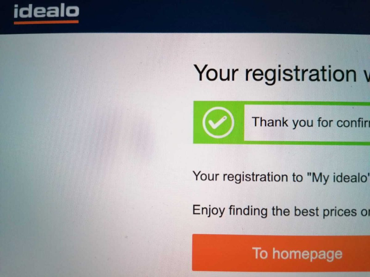 The confirmation page for Idealo registration