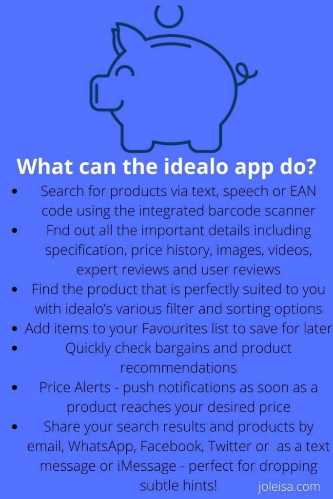 fatures of the Idealo app