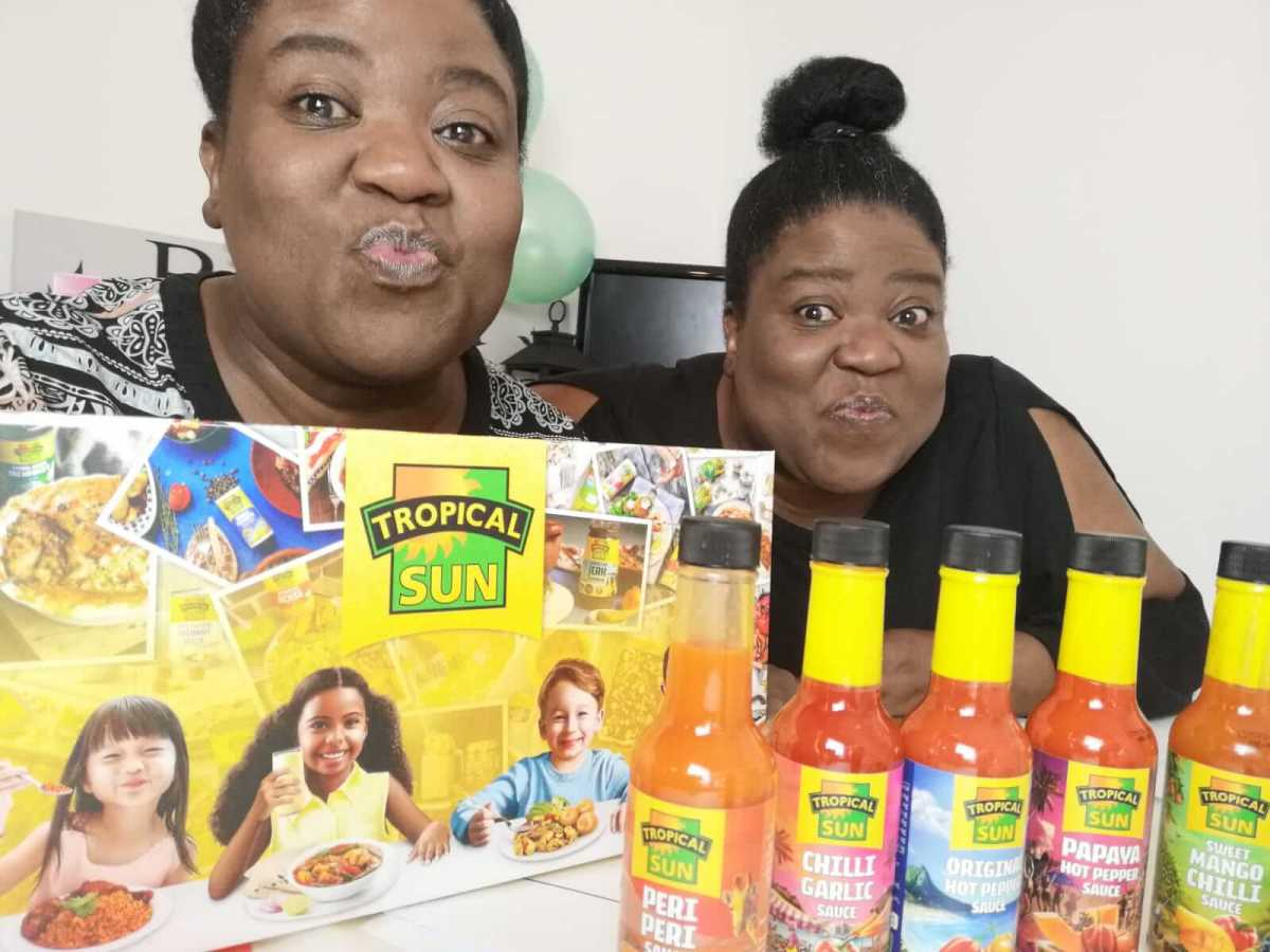 Twins Jo & Leisa with some chilli sauces