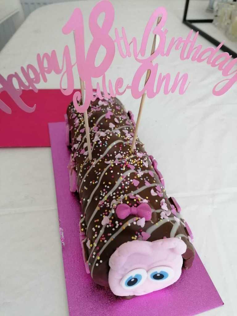 a caterpillar cake