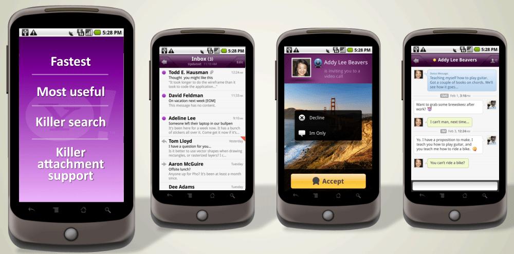 Exemple d'interface de messagerie de téléphone mobile