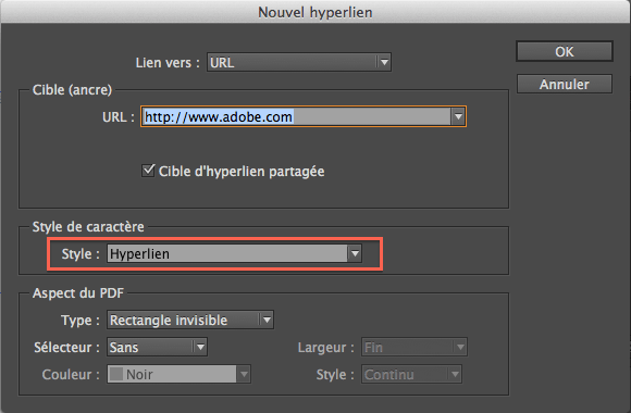 Hyperliens dans Indesign