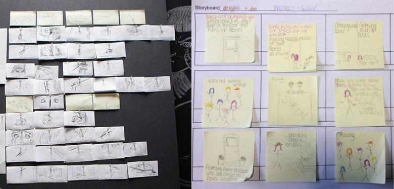 Exemple de brouillons de story-board