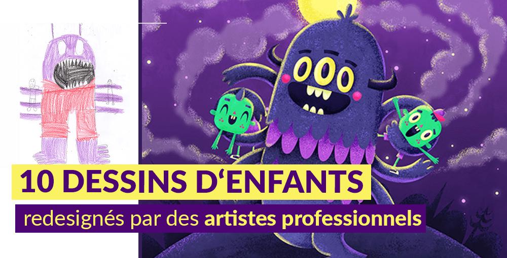 10 dessins d'enfants redessinés par des artistes professionnels