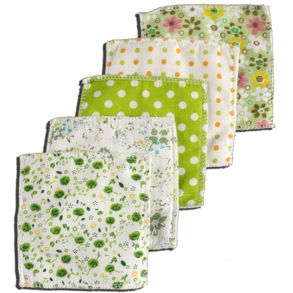 Lingettes Jolikrea coton polaire tons verts
