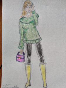 silhouette aux crayons aquarellables