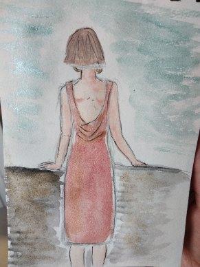 Femme de dos à l'aquarelle