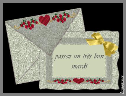 BON MARDI .dans une joli enveloppe avec des coeurs