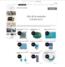 """Braided Capri necklace appeared in a French shopping blog NettementChic in a post """"Summer blue"""""""