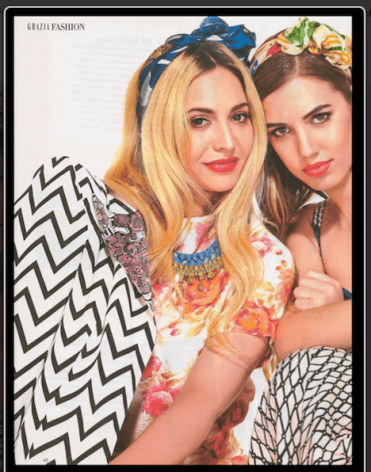 Grazia Middle East - April 2013 feature of Jolita Jewellery Bohemian style necklace with skulls. Made with a blue silk braid, amber colour crystals dipped in gold and embellished with skulls.