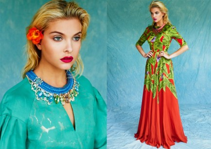 Kit Magazine July issue - a model on the left is wearing Jolita Jewellery's luxury Florence statement necklace, made with a double silk braid in blue, embellished with three rows of small blue crystals and adorned with array of dipped in gold deconstructed colourful jewels. A model on the right is wearing Malaga necklace in a dip-dyed plum brown and coral pink silk braid, with red crystals, dipped in gold.