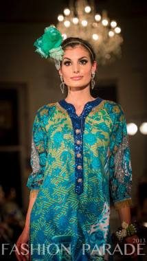 Fashion Parade event, supporting Save The Children charity. A catwalk with Nomi Ansari design and Tribal Couture Ganesha statement bangle by Jolita Jewellery.