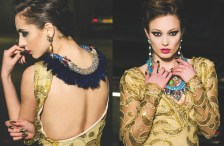 London Regal editorial, published in Zele magazine, March 2014. in Jolita Jewellery statement jewels: model on the left - in Jolita Jewellery's pink Debutante earrings and Feather statement necklace, model on the right (facing) - in several layered necklaces and Socialite skull and crystal earrings