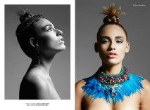 Institute magazine - Dali editorial in Jolita Jewellery statement pieces: blue feather statement necklace, embellished with Swarovski crystals, image on the left - crystal Debutante statement earrings and luxury Duchess crystal collar, embellished with Swarovski crystals
