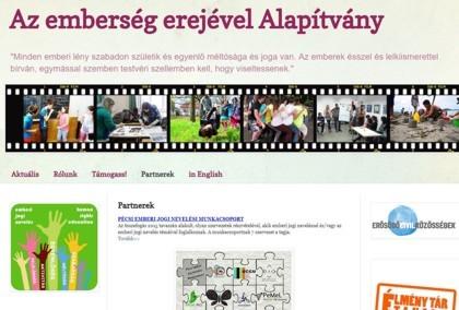Az emberség erejével Alapítvány honlapja. Részlet.