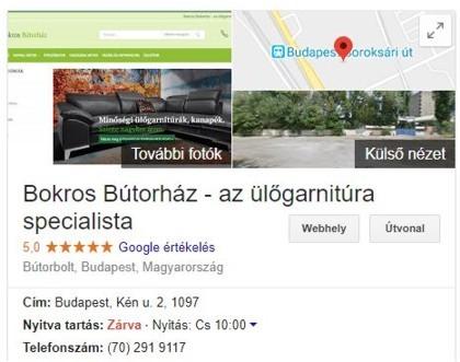 Információk a Googleban a Bokros Bútorházról