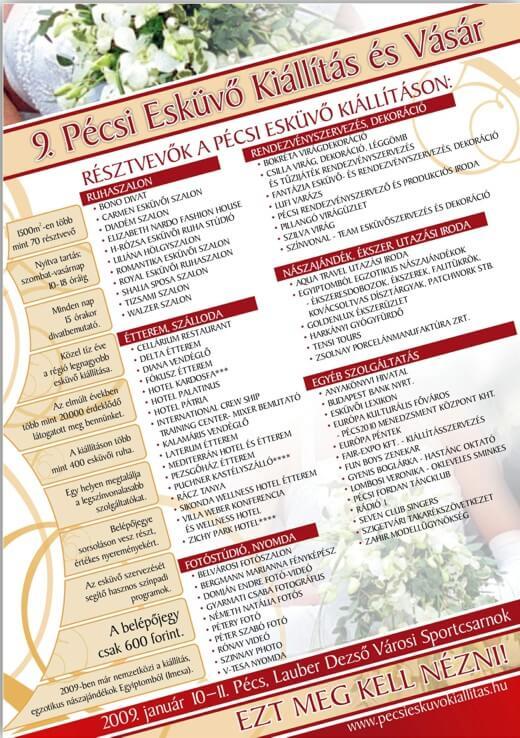 Pécsi Esküvő Kiállítás és Vásár programja