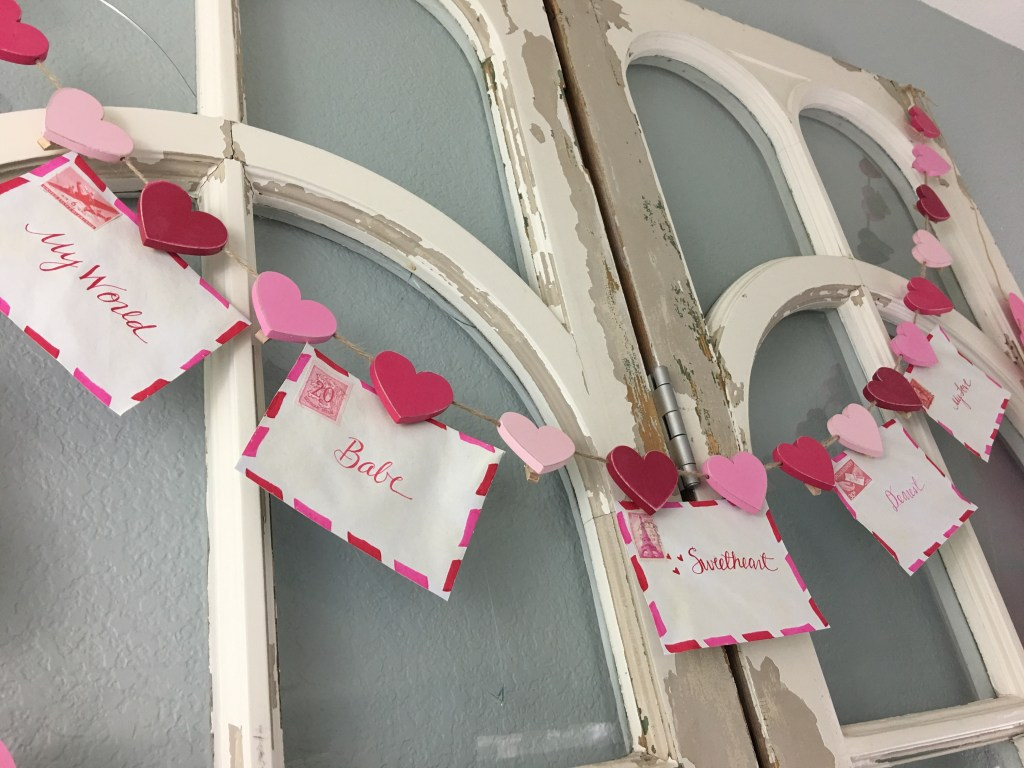 Valentine's Day love letter garland jolly and happy