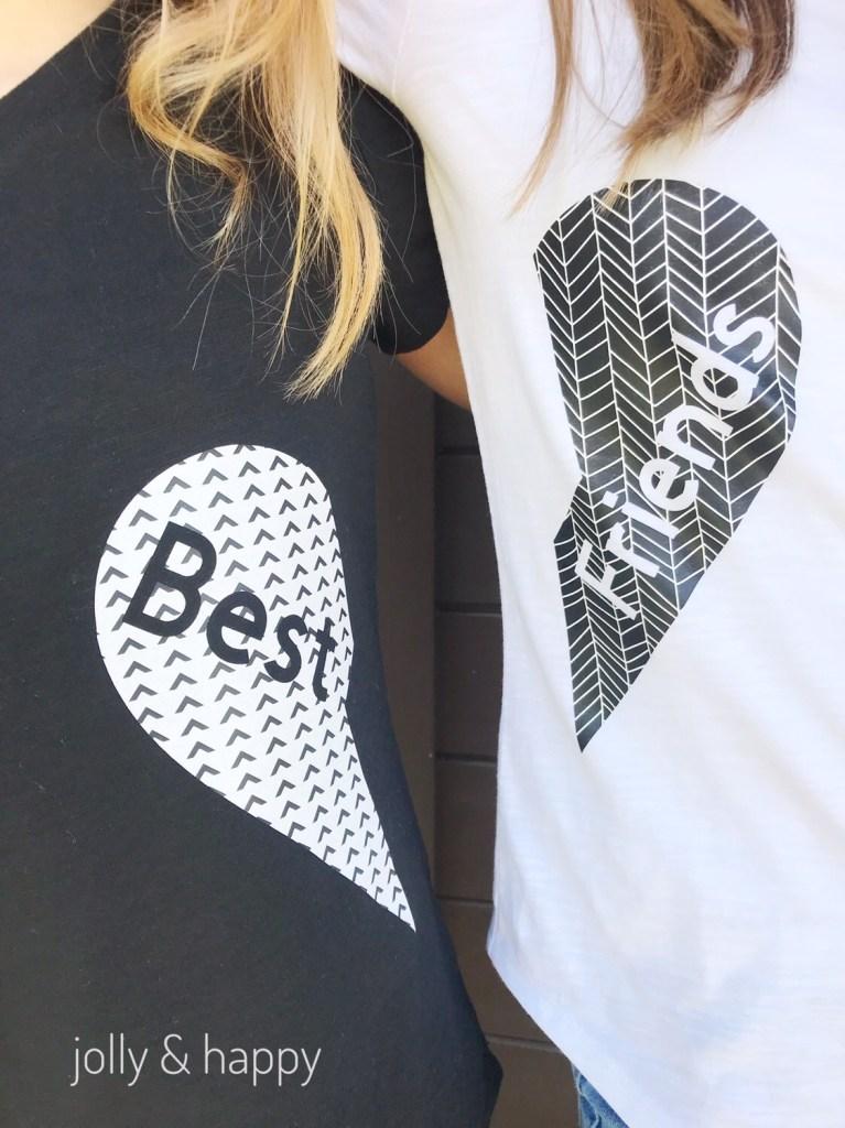 Cricut patterned Iron on best friend shirts