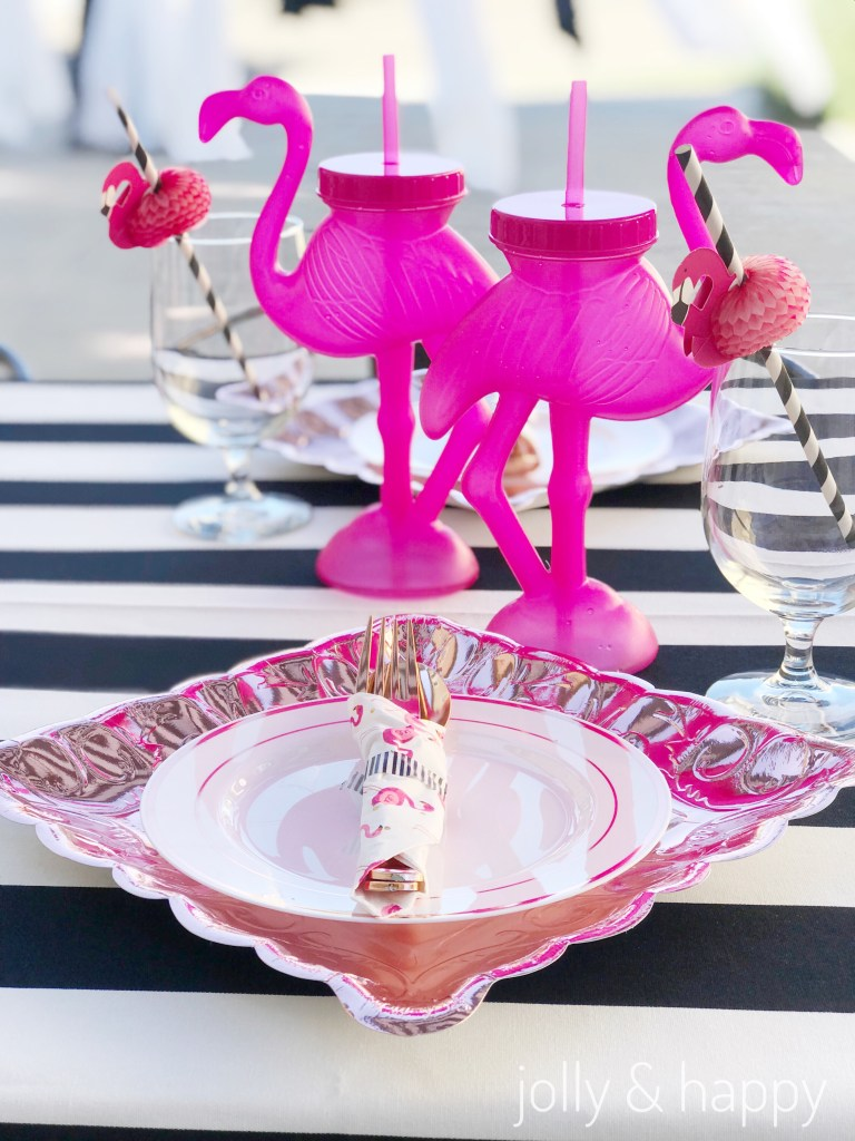 Rose gold place setting with flamingoes