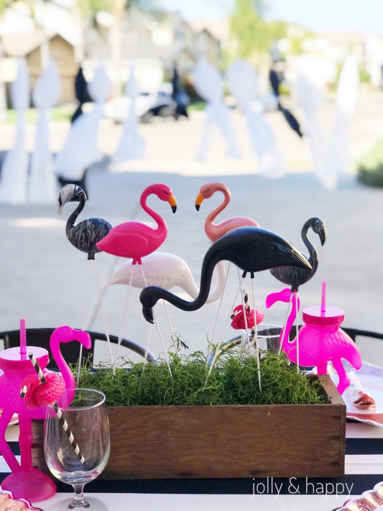 Black white and pink flamingo centerpiece