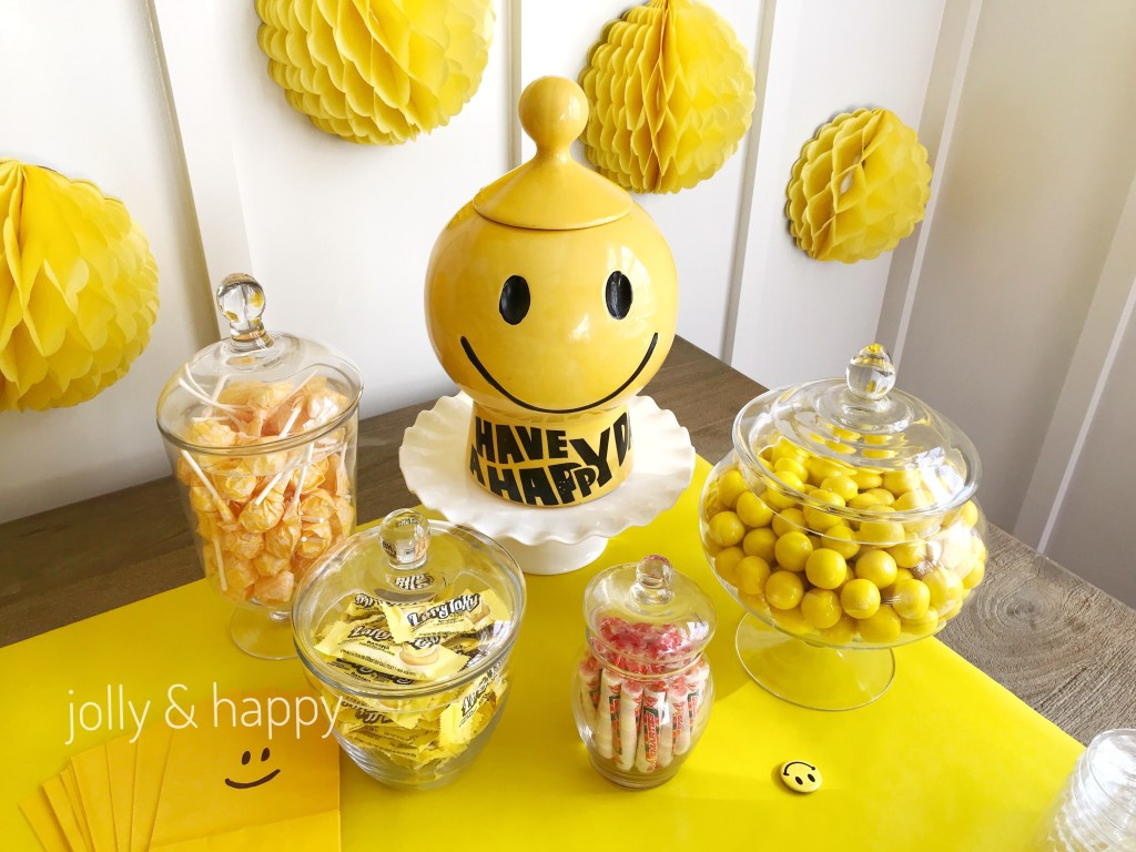 Smiley face emoji back to school party