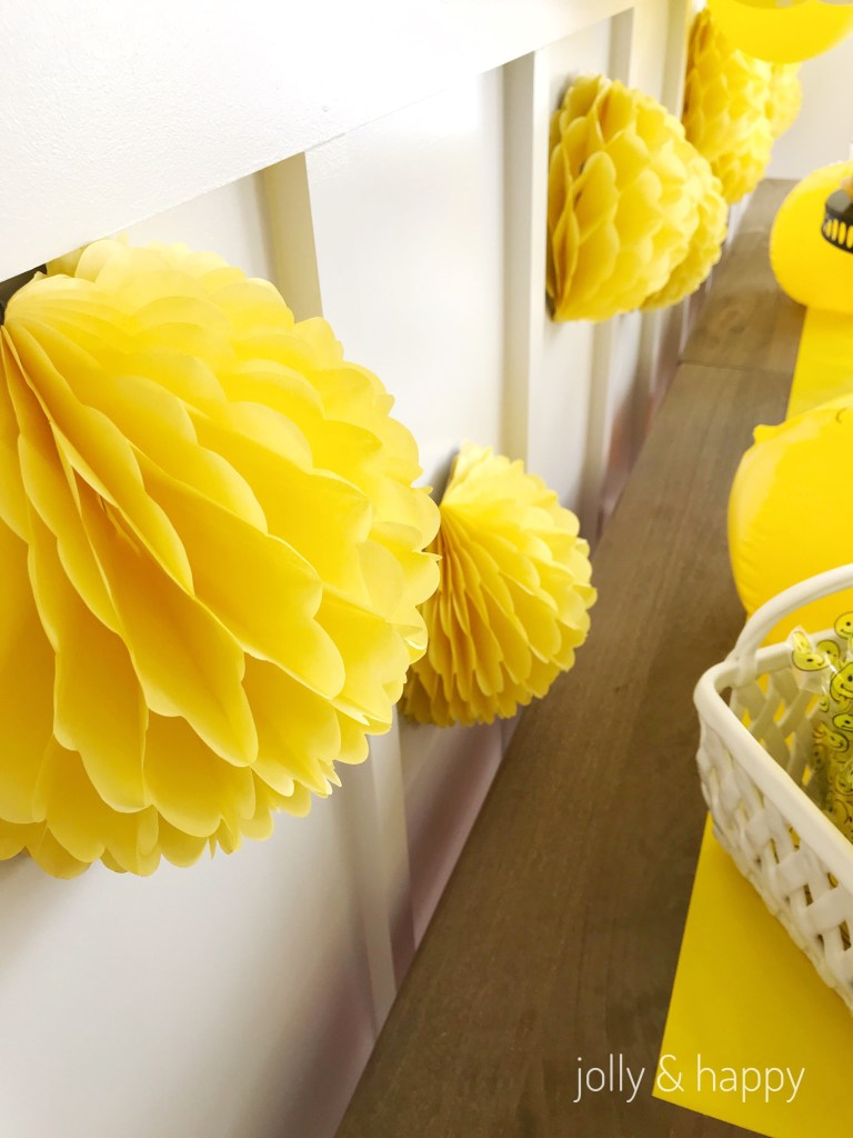 yellow round decor for tears and cheers back to school party