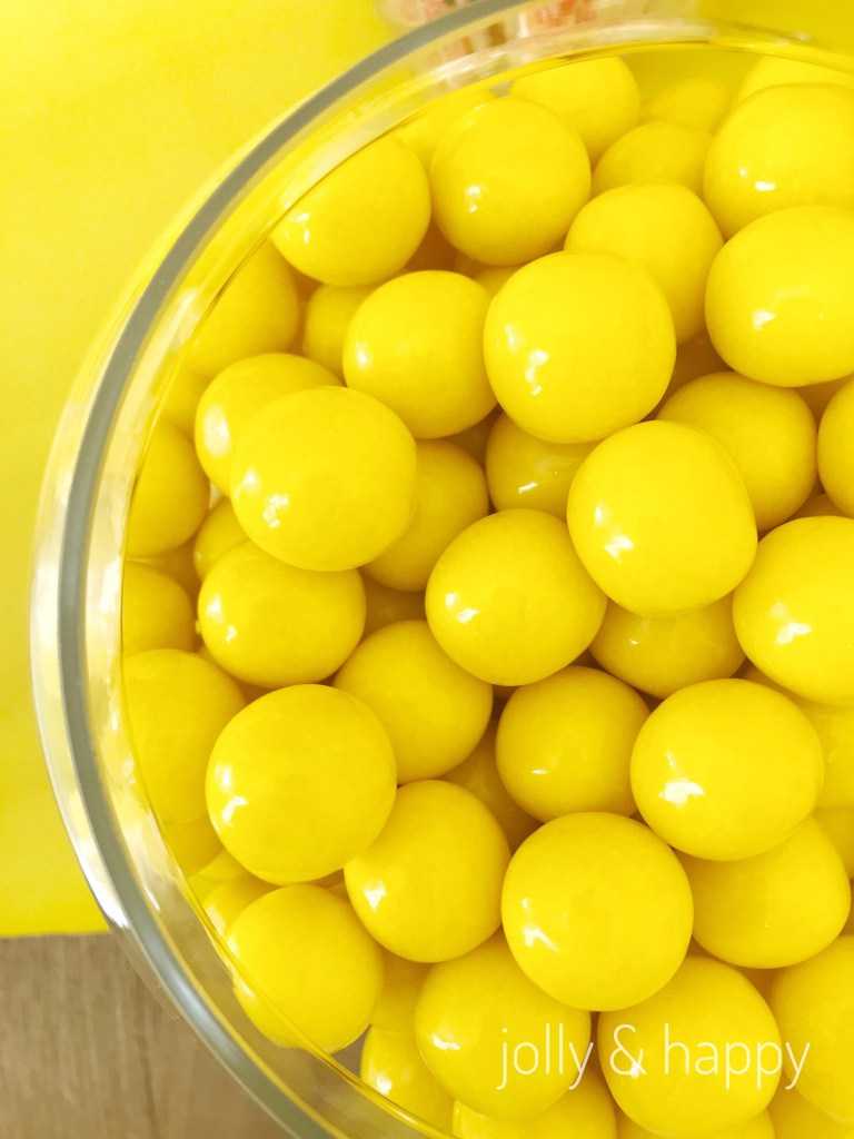 yellow gum-balls from yellow candy bar