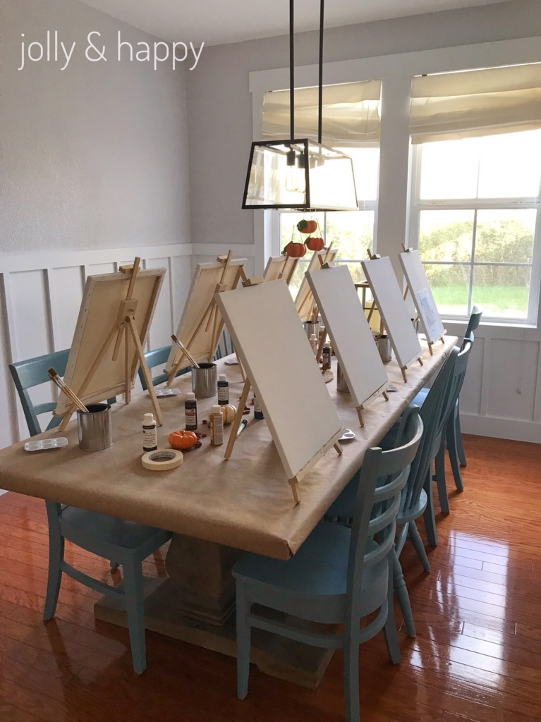 Fall paint party with social art working