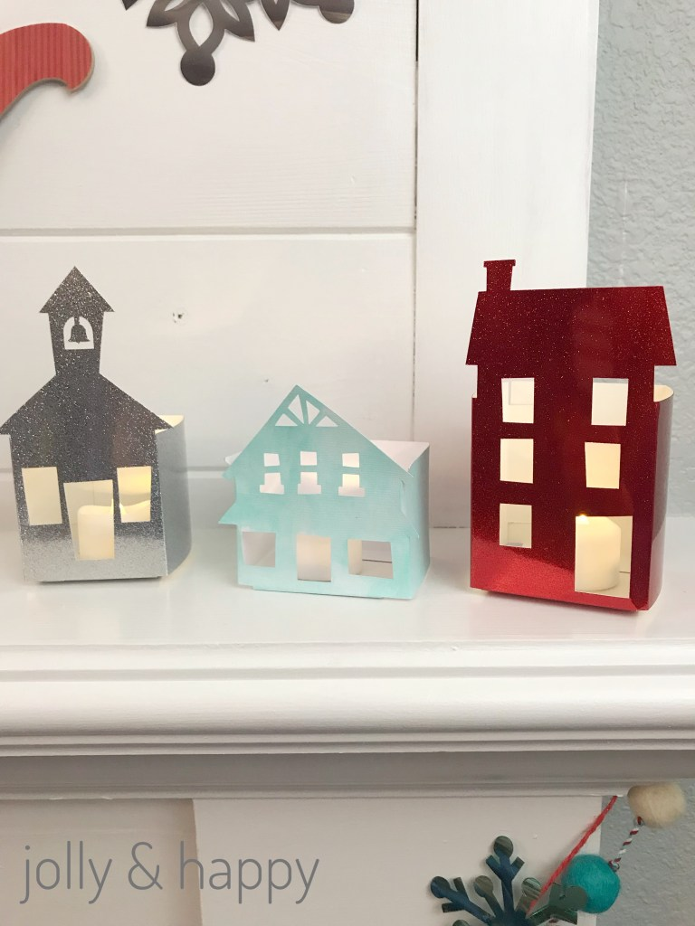 Christmas village made with card-stock from the Cricut Design Space