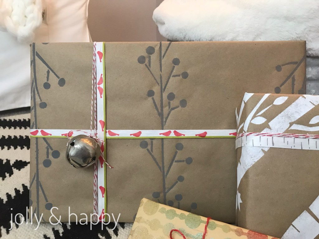 DIY painted wrapping paper with DecoArt