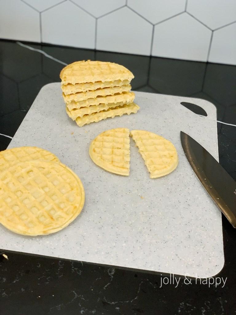 Cut Eggo waffles in half for ice cream sandwich