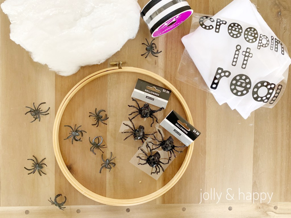 Embroidery hoop halloween spider wreath