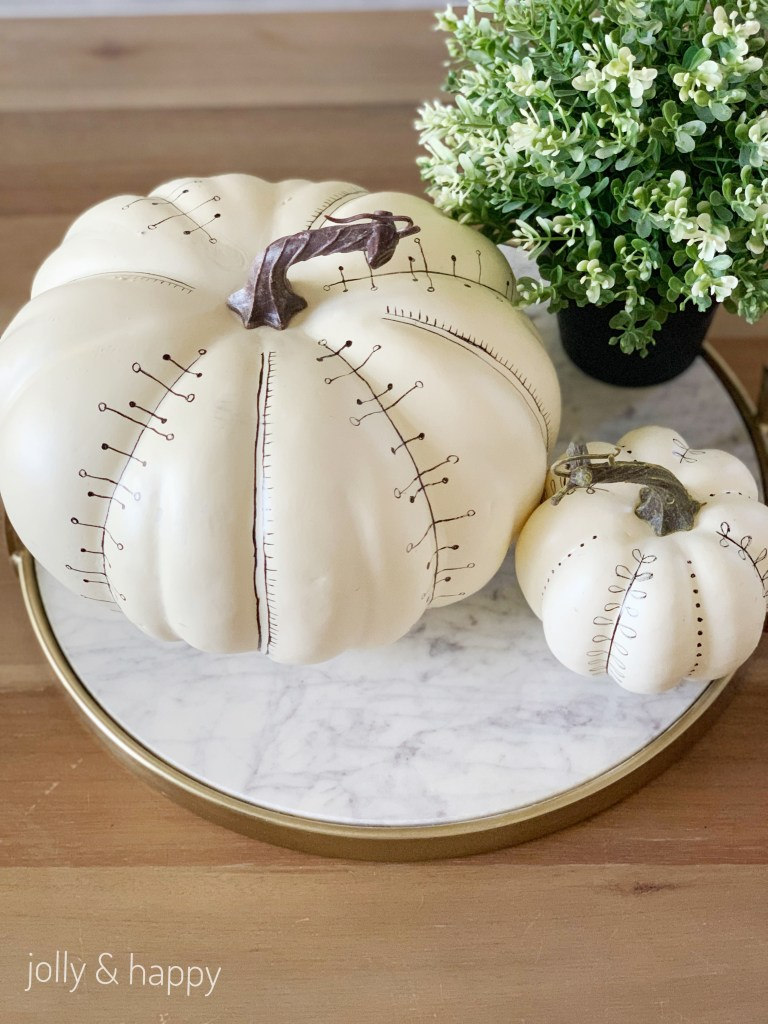 white pumpkins for fall decor