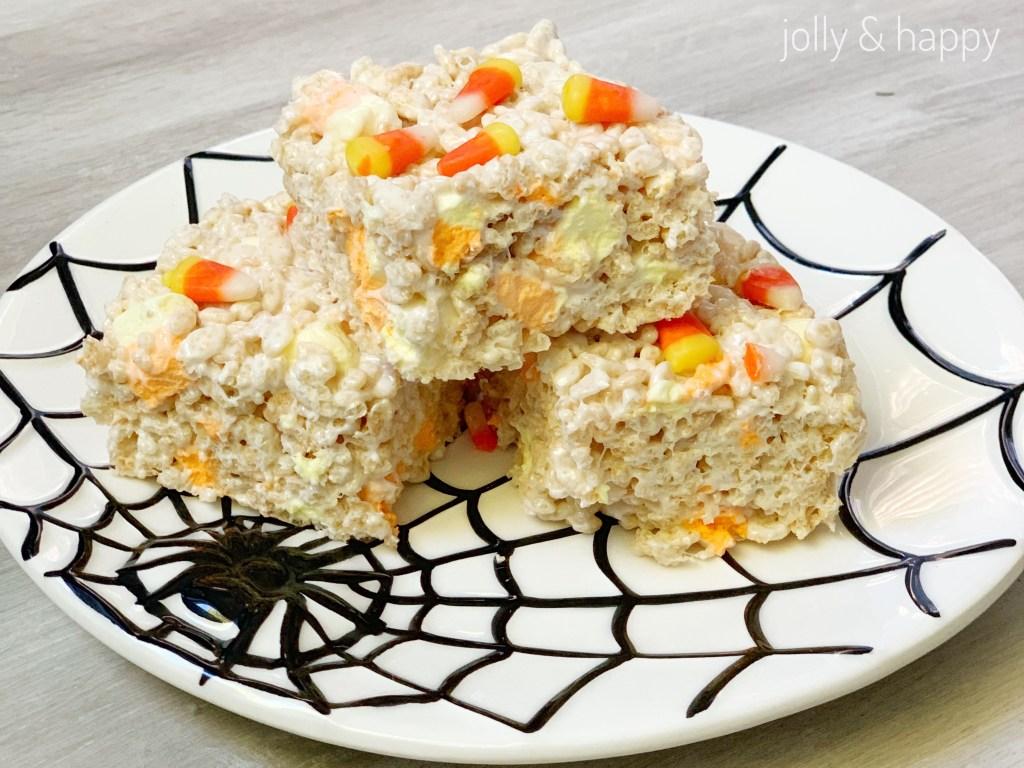 Halloween treats candy corn Rice Krispie treats