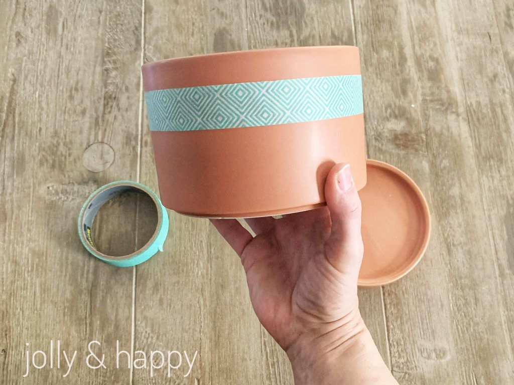 Tape off your pot where you want the color block with painters tape.