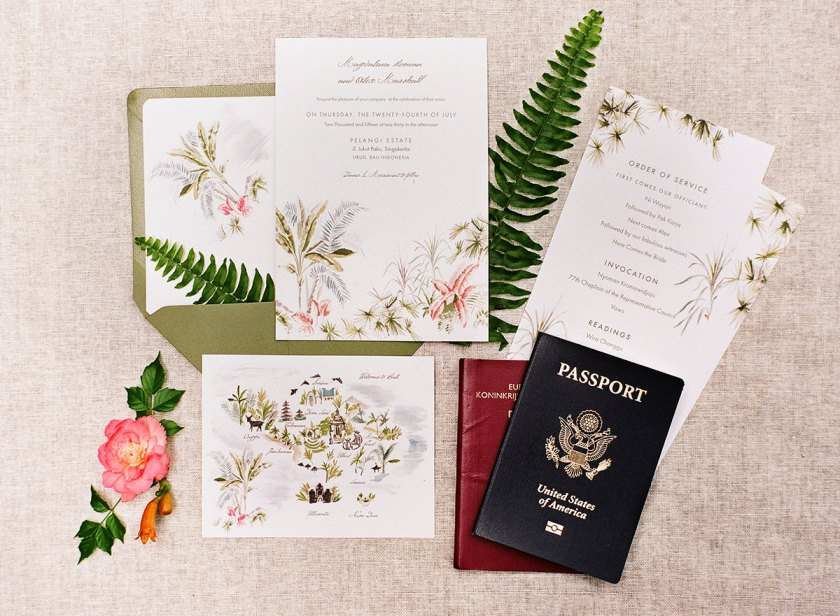 Jolly Edition Bali Wedding Stationery Ilrated By Laura Shema Photographed Audra Wrisley