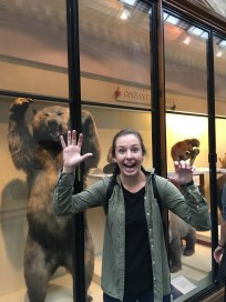 I don't know if the bear or the fact that I made this face is scarier