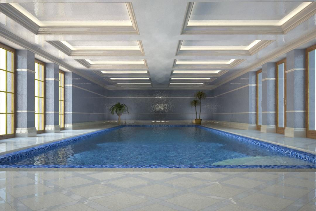 Indoor swimming pool, stone floor, painted woodwork