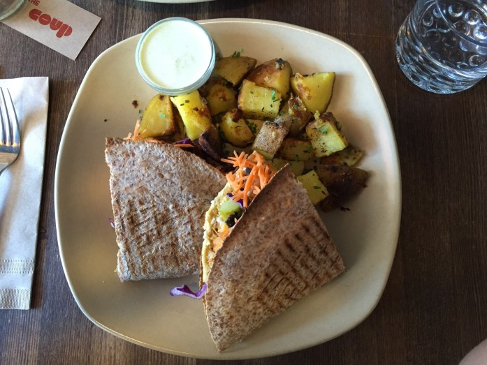Falafel quesadillas with a side of potatoes.