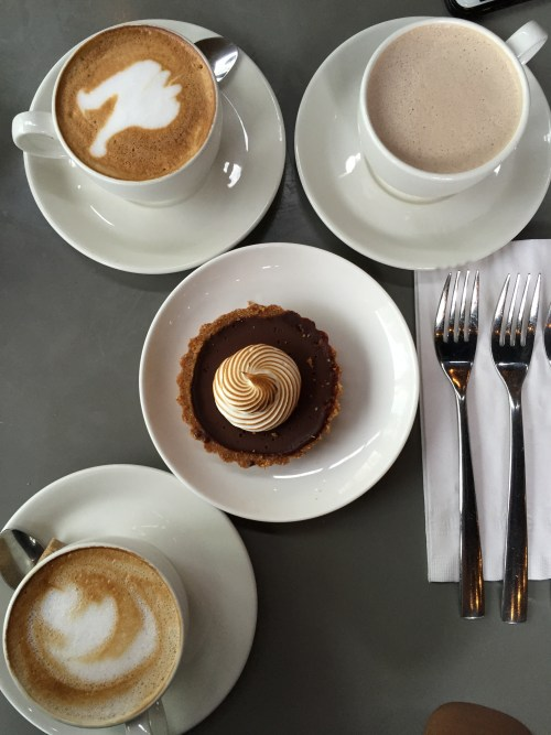 Lattes and chocolate tart.