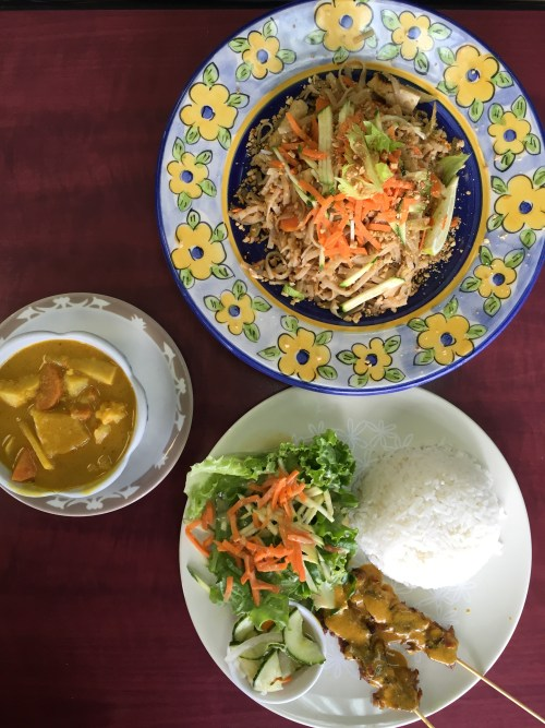 Pad Thai, Satay and Yellow curry